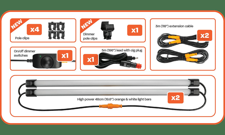 Contents of 2 Bar Orange White LED Camp Light Kit
