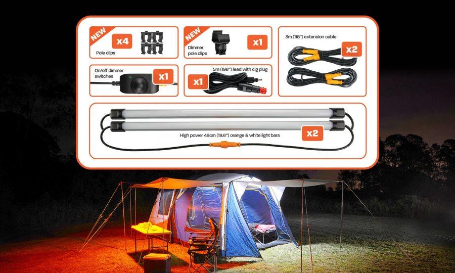 2 Bar Orange/White LED Camping Light Kit - Contents
