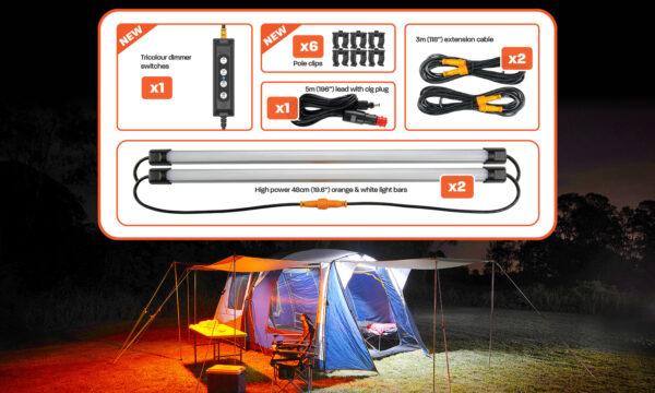 2 Bar Tri-Colour LED Camp Light Kit Contents