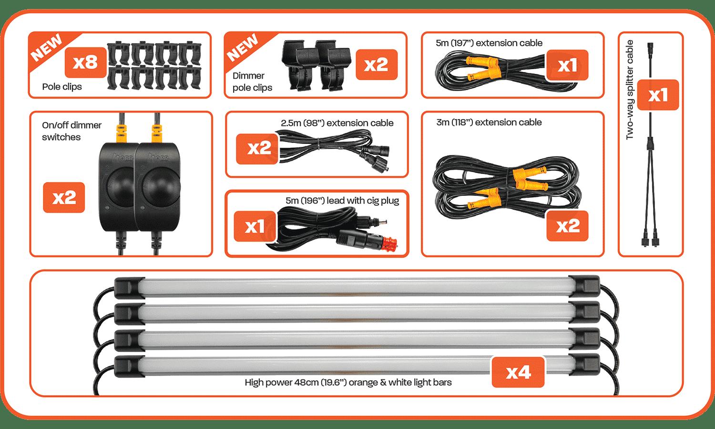 Contents of 4 Bar Orange White LED Camp Light Kit