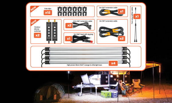 4 Bar Tri-Colour LED Camp Light Kit Contents