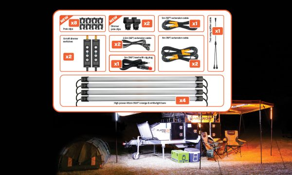 4 Bar Orange/White LED Camping Light Kit with Diffusers