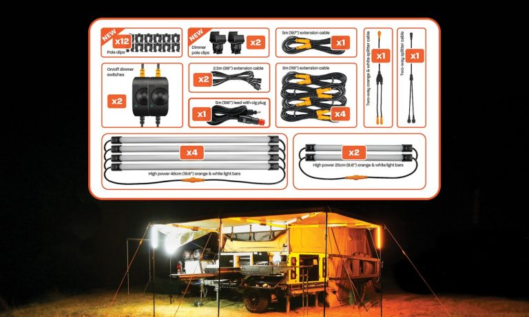 6 Bar Orange White LED Camping Light Kit - Contents