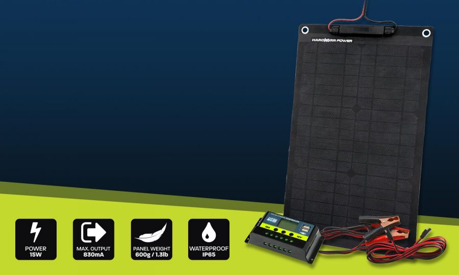 15w Trickle Charger Solar Panel for 12v Systems
