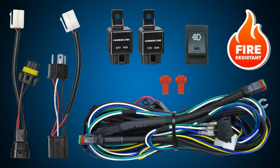 HKWIRHAR 12v and 24v dual wiring harness kit with illuminated LED rocker switch