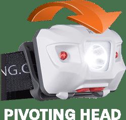 T335 head torch has a pivoting head