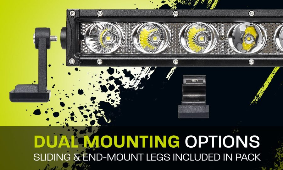 Single row LED light bar XDS400-G3 dual mounting options