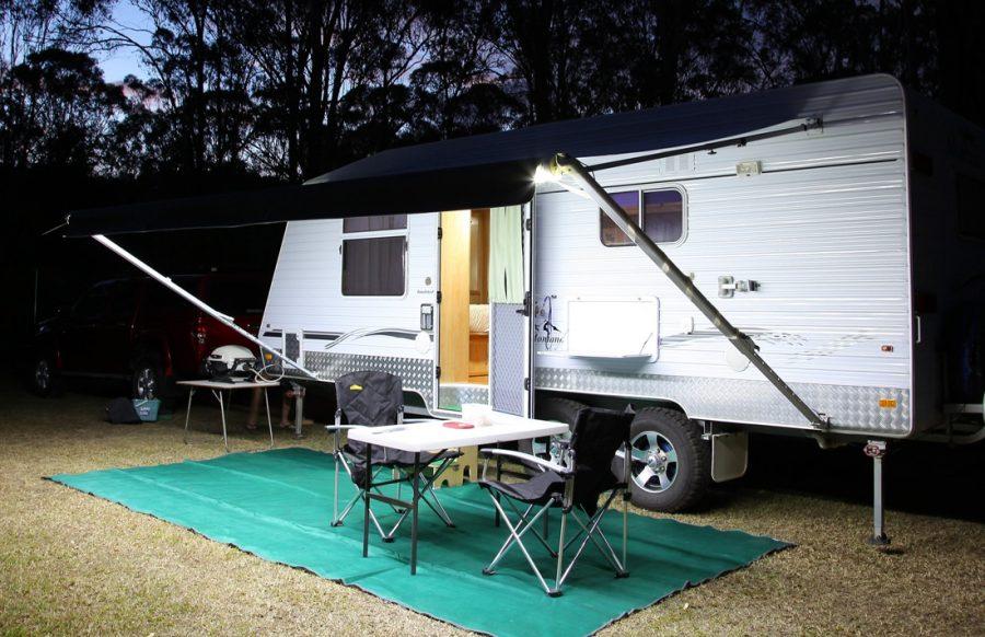 Korr Camping Lights on a Caravan