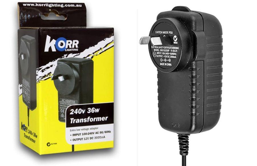 Korr 36w 12v to 240v transformer
