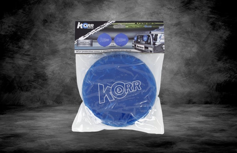Blue protective covers for Korr driving lights