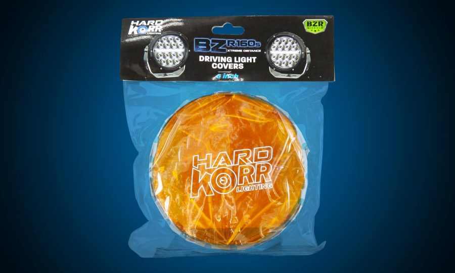 Orange protective covers for Hard Korr BZR Series driving lights