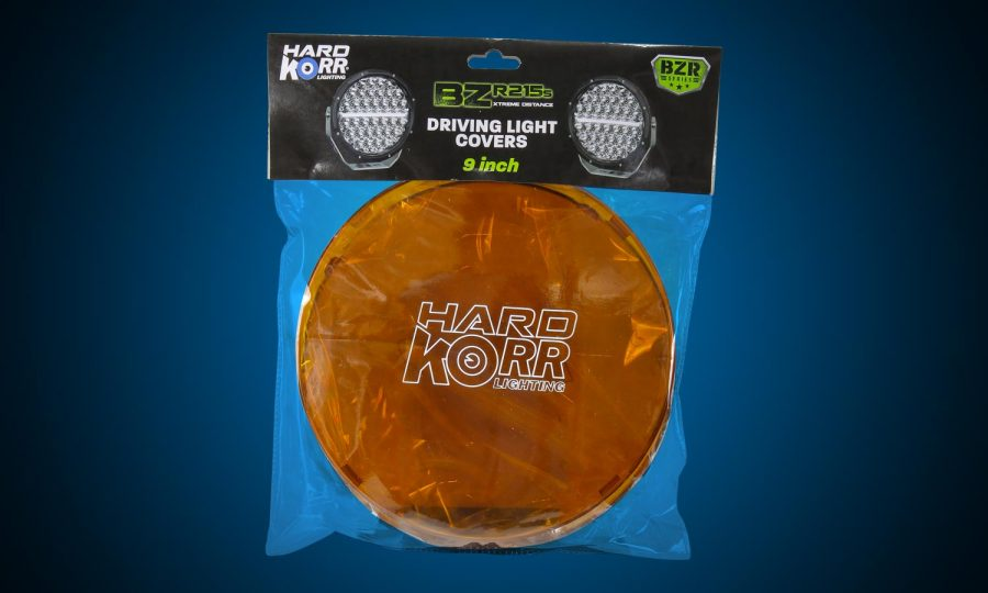 Orange protective covers for 9 Inch Hard Korr BZR Series driving lights