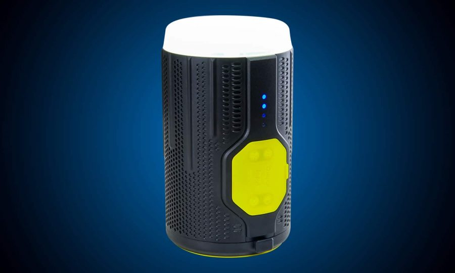 Rechargeable battery powered LED lantern with bluetooth speaker